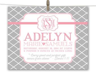 pink and gray nursery art - baby girl canvas nursery wall art - personalized baby girl birth stats - newborn baby girl gift