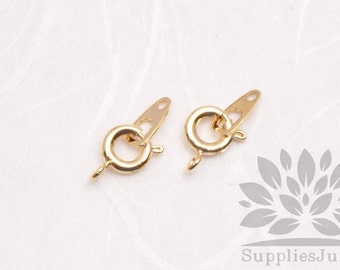 B012-02-G// Gold Plated 10mm Spring Clasp & Bar, 8 sets