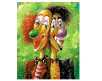 Circus Clowns Cross Stitch Chart
