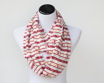 Christmas scarf infinity scarf Scandinavian stripes snowflake soft cotton jersey knit snood scarf - Christmas loop scarf - gift idea for her