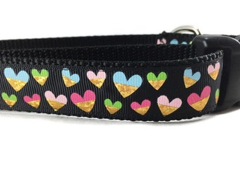Valentine Dog Collar, Black Hearts, 1 inch wide, adjustable, quick release, metal buckle, chain, martingale, hybrid, nylon