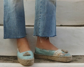 Espadrilles Shoes World Map Print and Tassels. Summer Flat Shoes. Handmade Greek Sandals. Boho Women's Shoes. Gift for Women. Alpargata