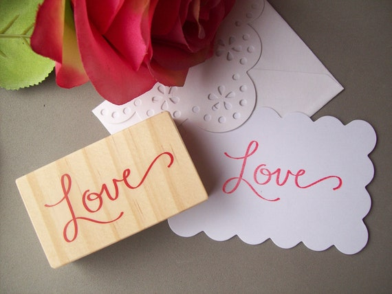 Love Calligraphy Rubber Stamp - Hand Lettered Cursive Love Valentines Romantic Wedding