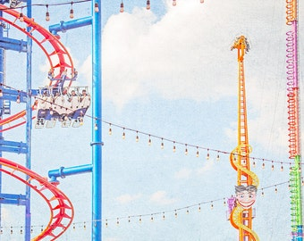 "Fun Kids Room Art // Carnival Print for Nursery or Kid Room // Nostalgic Carnival Prints // Bright Neon Colors Print // ""Coney Island Rides"""