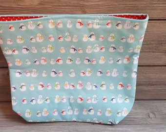 Bald Snowmen fabric project bag
