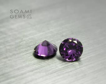 Loose Cubic zirconia round purple, 2-10 mm round cut amethyst loose cubic zirconia faceted gem