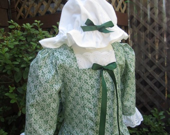Girls  Colonial Costume/Early American..and  Mob Cap sizes 2 to 12 (PLEASE read full details inside of ad)
