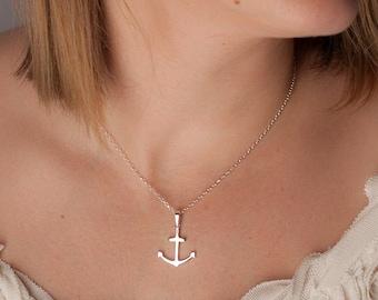 silver anchor necklace, silver anchor charm necklace, anchor jewelry, anchor pendant necklace, nautical pendant necklace, nautical jewelry