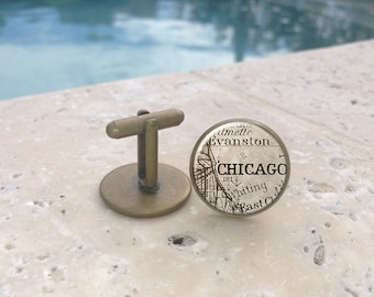 Vintage Mens Chicago Cufflinks, Map Cufflinks, Glass Cufflinks, Gifts for Him, Mens Gifts, Anniversary Gift, Wedding Party Gift