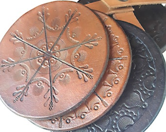 Leather Round Coasters Set - Set of 6 - Custom Tooled Leather Coaster - Hand Tooled Leather Coasters