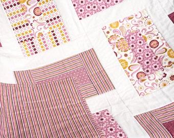 "Sale - Baby Girl Quilt - Modern Quilt Baby - Baby Blanket - Pink Baby Quilt - Crib Quilt - Baby Girl Blanket - Baby Bedding  40"" x 50"""