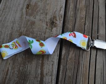 Ribbon Pacifier Clip-- Summer Fun