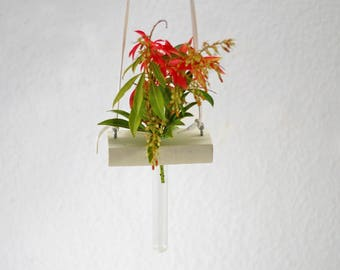White vase to hang, driftwood, glass tube, flower vase