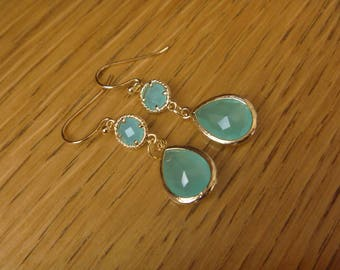 Golden Earrings: Blue Green Crystal
