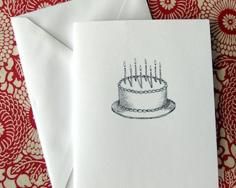 Birthday Cake with Candles Illustration Note Card