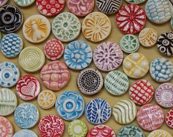 Ceramic Button Magnets in Rainbow Colors