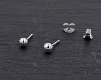 Sterling Silver Dainty Little Ball Circle Sphere Tiny Stud Earrings, Minimalist Geometric Design  H28