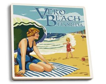 Vero Beach, FL - Woman & Beach Scene - LP Artwork (Set of 4 Ceramic Coasters)