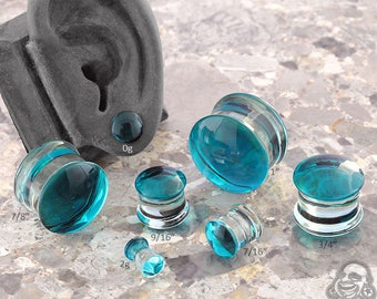 """DF Turquoise Colorfront Glass Plugs (2g, 1g, 0g, 9mm, 10mm, 7/16"""", 1/2"""" , 9/16"""", 5/8"""", 3/4"""", 7/8"""", and 1"""")"""