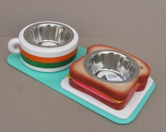 Pet feeder TOAST & COFFEE S (light) - elevated pet bowl holder  - raised pet feeder - dog bowl stand - cat bowl holder - pet food feeder