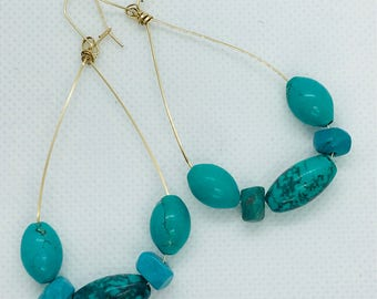 Turquoise & 14k Gold Filled, Large Hoop Earrings