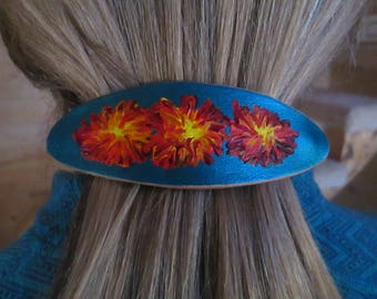 Leather painted hair clip