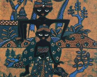 Indonesian Batik Panel, Wallhanging, Lap Quilt, Pillow Panel, Jacket Back, Quilting Supply, Art Panel, Wearable Art, Washable Batik Panel