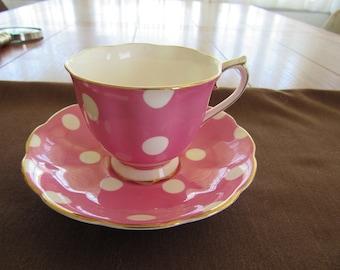 Royal Albert Vintage Pink Polka Dot Tea Cup and Saucer