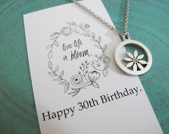 Happy Birthday! |30th Birthday Gift - Gift For Her - 30th Birthday quote Card For Her - Gift For Wife - Best Friend Gift - Flower Necklace