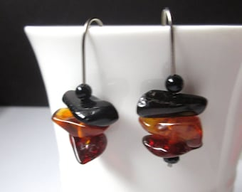 Hypoallergenic Amber Earrings, Niobium Baltic Amber Nugget Earring, Tree Resin Earrings For Her, Multi Color Amber, For Sensitive Ears.