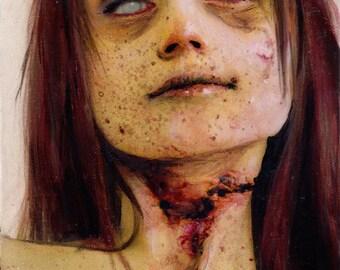"""Zombie 77 Kate M. original zombie painting 6""""x6"""""""
