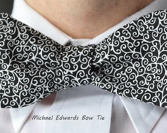 Black White Bow Tie, Mens Black Bow Tie, Freestyle Bow Tie, Black Wedding Bowtie, Self-Tie Bow Tie, Black Prom Bowtie, Black Wedding Tie,