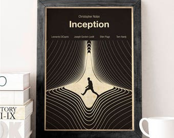 INCEPTION -  movie poster, film poster, print, minimalist, dream, inception dream, minimal print, minimalist movie poster