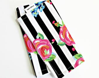 READY TO SHIP Floral & Stripe Burp Cloth / Modern Nursery / Baby Girl / Burp rags / Burp pads / Minky