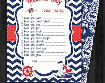 Sailing Navy Blue Baby Wish Card, boat, chevron, boy, blue, steering wheel, navigation compass, clouds
