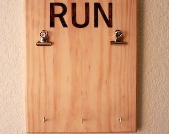 Wooden Runner's Bib and Medal Display, Race Bib Display, Woodburned letters