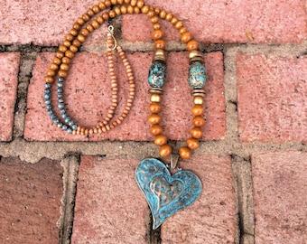 Patina heart necklace