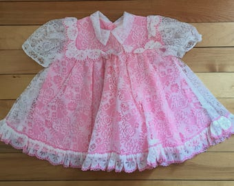 Vintage 1980s Baby Infant Girls Pink White Lace Dress! Size 6 months