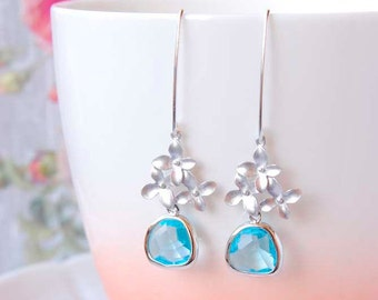 Silver Flower Dangle Earrings Aquamarine Drop Earrings  Cherry Blossom Earrings Light Blue Earrings Aquamarine Jewelry Gift For Her