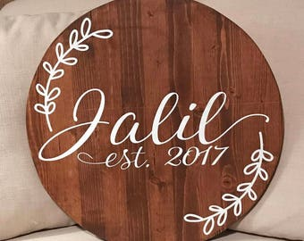 Round Last Name Sign - 18 Inches