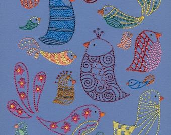 Bird Sampler embroidery pattern PDF