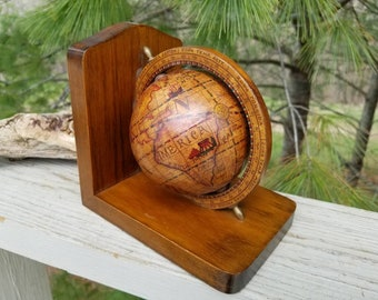 Italian World Globe Single Bookend Mid Century Home Decor