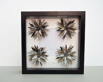 Framed Flowers | 4 Flowers | Mustards and Greys