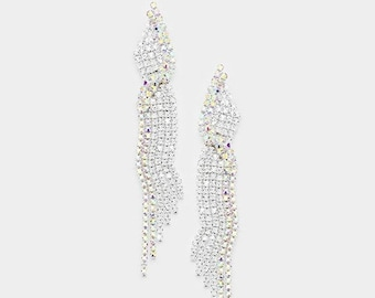 ON SALE Marquise Crystal AB Pave Earrings