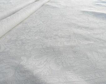 Set of 3 vintage white Swedish linen woven floral damask napkins Scandinavian