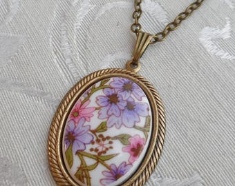 50% Off Vintage Cameo- Pink and Purple Flowers