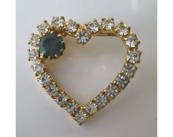Rhinestone Heart Pin * Green Stone Accent * Sparkly Pin * Gift For Lady