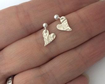 Tiny Heart Drop Stud Earrings with Flower Pattern in Fine Silver | Small Silver Flower Drop Earrings | Tiny Flower Studs | Floral Earrings