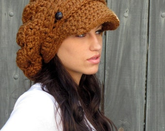 Slouchy Hat Newsboy Hat Satin Lined Chunky Cap Womens Tam Slouchy Handmade Thick Wool Beanie - Aliyah Cap Hazelnut or CHOOSE color