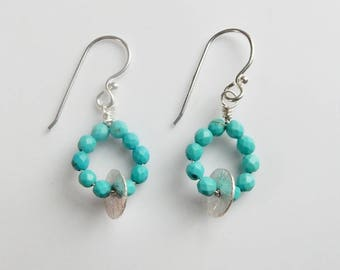 Turquoise and Sterling Silver disk earrings , blue turquoise earrings